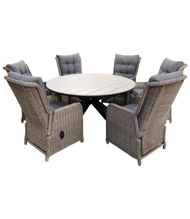 4 Seizoenen Tuinmeubelen 7-delige ronde tuinset | 6 Dublin verstelbare stoelen (SW) | ⌀150cm Cyprus tuintafel (Wood)