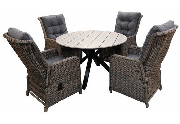 5-delige ronde tuinset | 4 Dublin verstelbare stoelen (SW) | ⌀120cm Cyprus tuintafel (Wood)