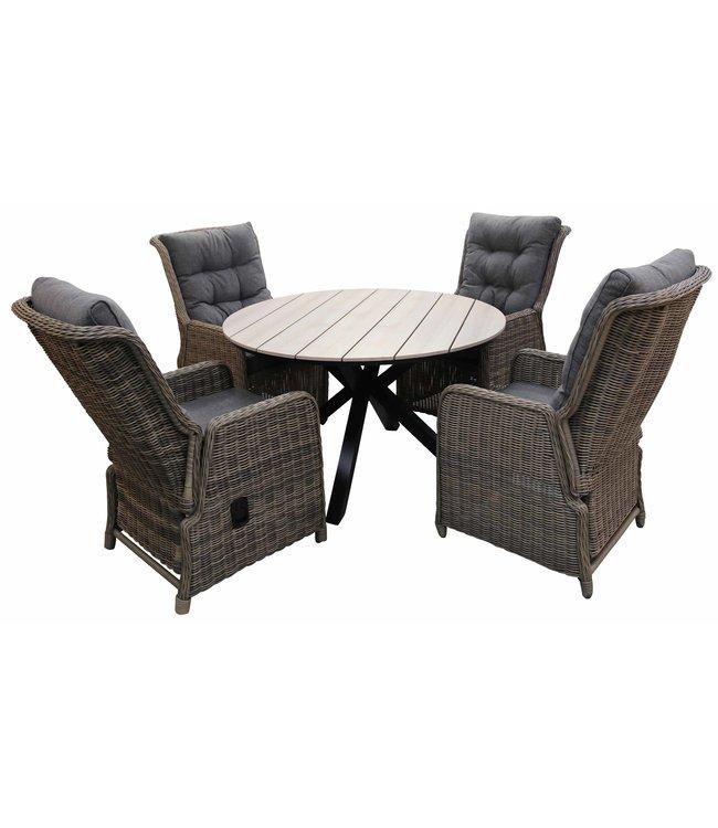 4 Seizoenen Tuinmeubelen 5-delige ronde tuinset   4 Dublin verstelbare stoelen (SW)   ⌀120cm Cyprus tuintafel (Wood)