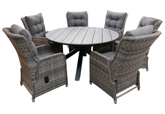 7-delige ronde tuinset | 6 Dublin verstelbare stoelen (AG) | ⌀150cm Cyprus tuintafel (Grey)