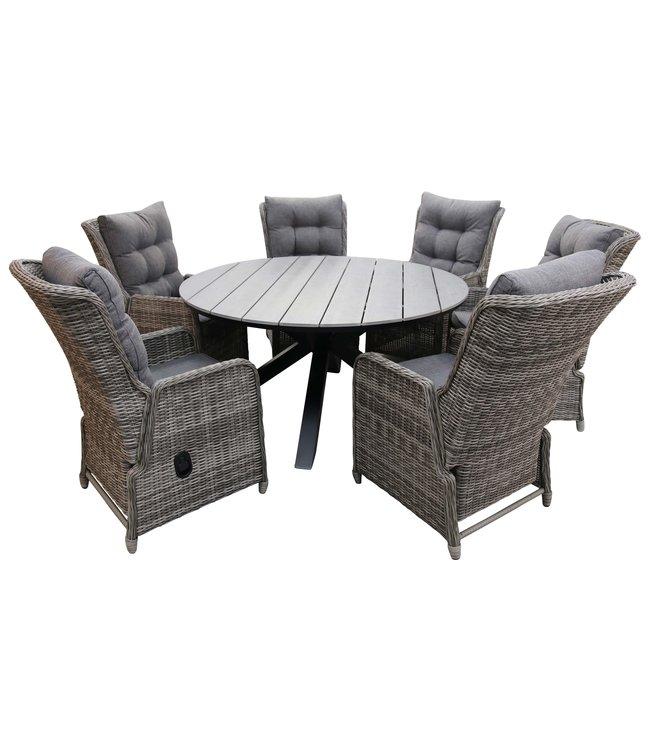4 Seizoenen Tuinmeubelen 7-delige ronde tuinset | 6 Dublin verstelbare stoelen (AG) | ⌀150cm Cyprus tuintafel (Grey)