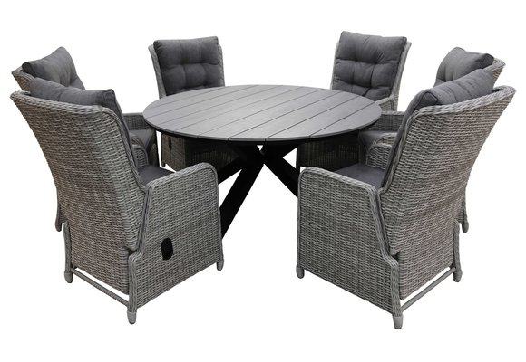 7-delige ronde tuinset   6 Dublin verstelbare stoelen (MG)   ⌀150cm Cyprus tuintafel (Grey)