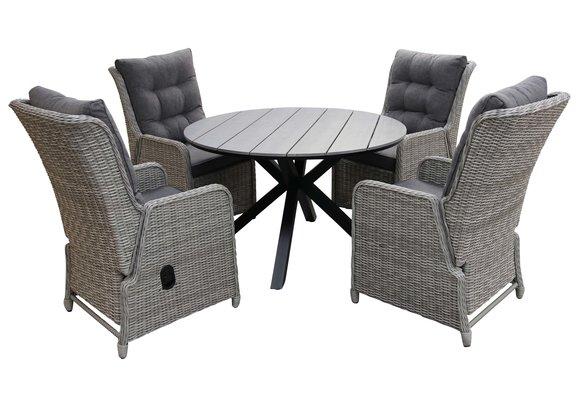 5-delige ronde tuinset   4 Dublin verstelbare stoelen (MG)   ⌀120cm Cyprus tuintafel (Grey)