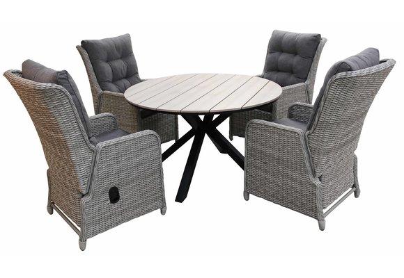 5-delige ronde tuinset | 4 Dublin verstelbare stoelen (MG) | ⌀120cm Cyprus tuintafel (Wood)