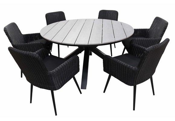 7-delige ronde tuinset | 6 Pisa tuinstoelen (Black) | ⌀150cm Cyprus tuintafel (Grey)