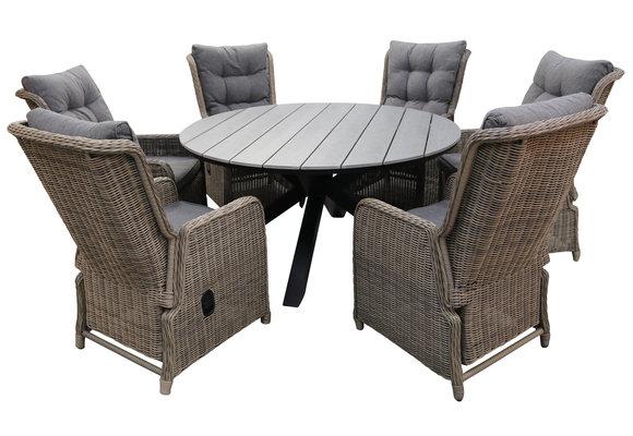 7-delige ronde tuinset | 6 Dublin verstelbare stoelen (SW) | ⌀150cm Cyprus tuintafel (Grey)