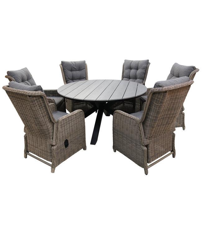 4 Seizoenen Tuinmeubelen 7-delige ronde tuinset | 6 Dublin verstelbare stoelen (SW) | ⌀150cm Cyprus tuintafel (Grey)