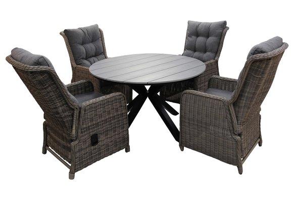 5-delige ronde tuinset | 4 Dublin verstelbare stoelen (SW) | ø120cm Cyprus tuintafel (Grey)