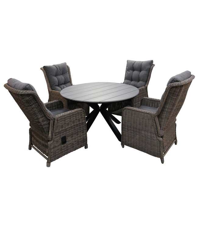 4 Seizoenen Tuinmeubelen 5-delige ronde tuinset | 4 Dublin verstelbare stoelen (SW) | ø120cm Cyprus tuintafel (Grey)