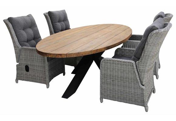 5-delige tuinset | 4 Dublin verstelbare stoelen (MG) | 240cm ovale Palu tuintafel (Teakhout)