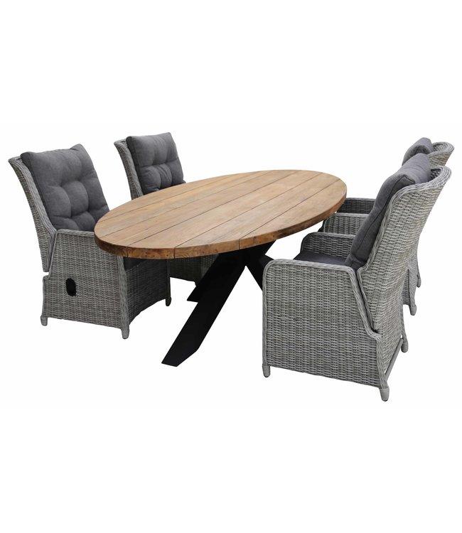 4 Seizoenen Tuinmeubelen 5-delige tuinset | 4 Dublin verstelbare stoelen (MG) | 240cm ovale Palu tuintafel (Teakhout)