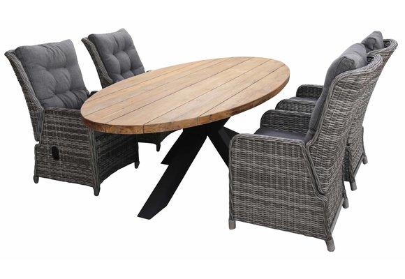 5-delige tuinset | 4 Dublin verstelbare stoelen (AG) | 240cm ovale Palu tuintafel (Teakhout)