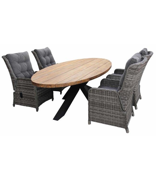 4 Seizoenen Tuinmeubelen 5-delige tuinset | 4 Dublin verstelbare stoelen (AG) | 240cm ovale Palu tuintafel (Teakhout)