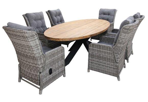 7-delige tuinset   6 Dublin verstelbare stoelen (AG)   300cm ovale Palu tuintafel (Teakhout)