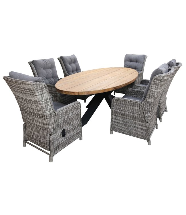 4 Seizoenen Tuinmeubelen 7-delige tuinset | 6 Dublin verstelbare stoelen (AG) | 300cm ovale Palu tuintafel (Teakhout)