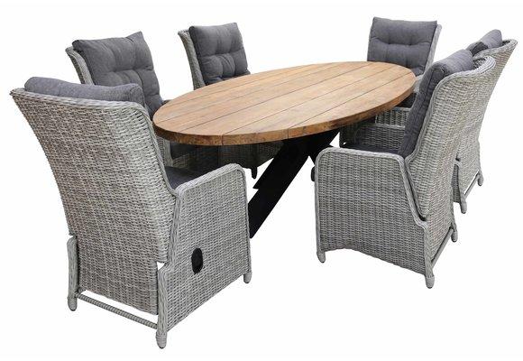 7-delige tuinset | 6 Dublin verstelbare stoelen (MG) | 300cm ovale Palu tuintafel (Teakhout)