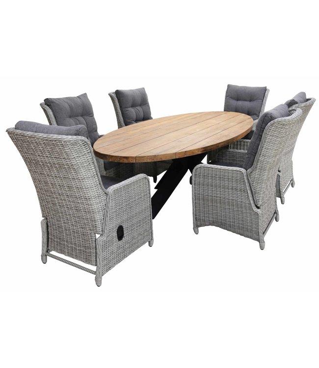 4 Seizoenen Tuinmeubelen 7-delige tuinset | 6 Dublin verstelbare stoelen (MG) | 300cm ovale Palu tuintafel (Teakhout)