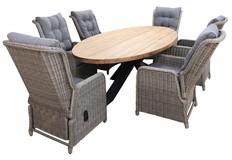 7-delige tuinset | 6 Dublin verstelbare stoelen (SW) | 300cm ovale Palu tuintafel