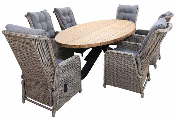 7-delige tuinset | 6 Dublin verstelbare stoelen (SW) | 300cm ovale Palu tuintafel (Teak)