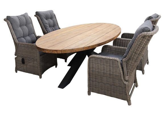 5-delige tuinset | 4 Dublin verstelbare stoelen (SW) | 240cm ovale Palu tuintafel (Teakhout)