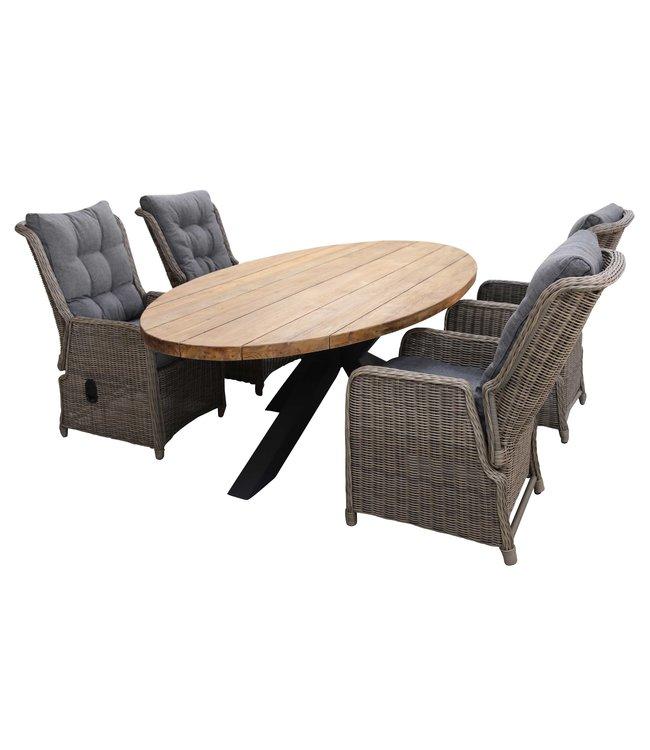 4 Seizoenen Tuinmeubelen 5-delige tuinset | 4 Dublin verstelbare stoelen (SW) | 240cm ovale Palu tuintafel (Teakhout)