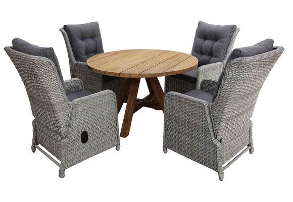 5-delige ronde tuinset | 4 Dublin verstelbare stoelen (MG) | ø120cm Ayra tuintafel (Teak)