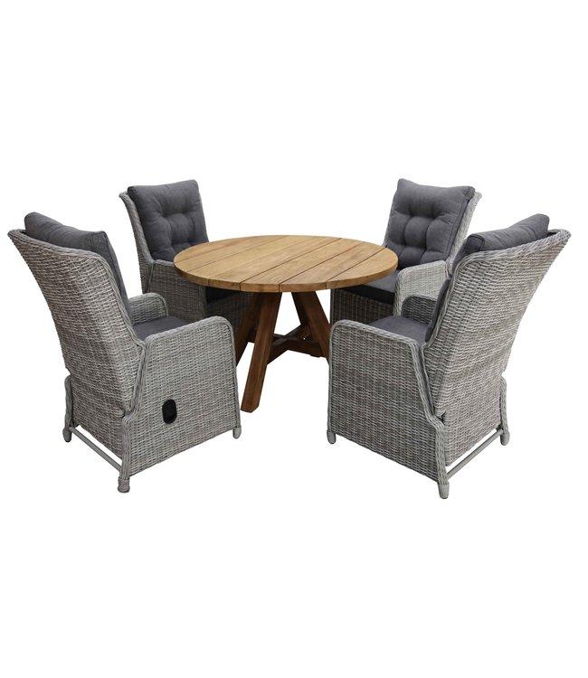4 Seizoenen Tuinmeubelen 5-delige ronde tuinset | 4 Dublin verstelbare stoelen (MG) | ø120cm Ayra tuintafel (Teak)