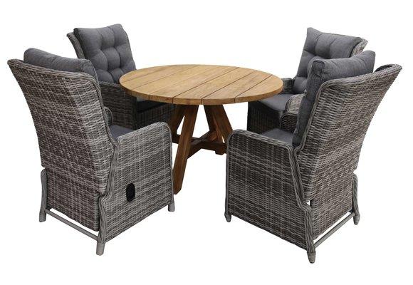 5-delige ronde tuinset | 4 Dublin verstelbare stoelen (AG) | ø120cm Ayra tuintafel (Teak)