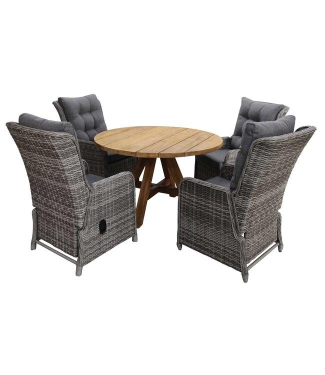 4 Seizoenen Tuinmeubelen 5-delige ronde tuinset | 4 Dublin verstelbare stoelen (AG) | ø120cm Ayra tuintafel (Teak)