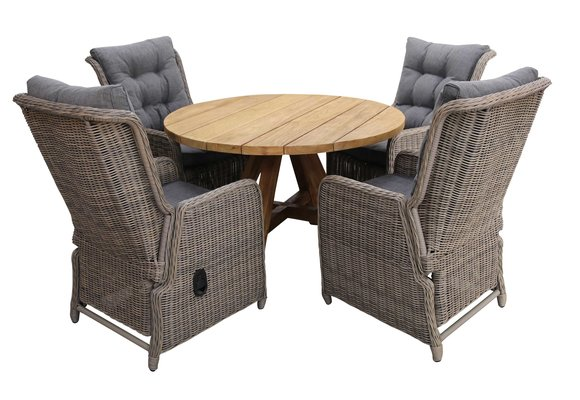 5-delige ronde tuinset | 4 Dublin verstelbare stoelen (SW) | ø120cm Ayra tuintafel (Teak)