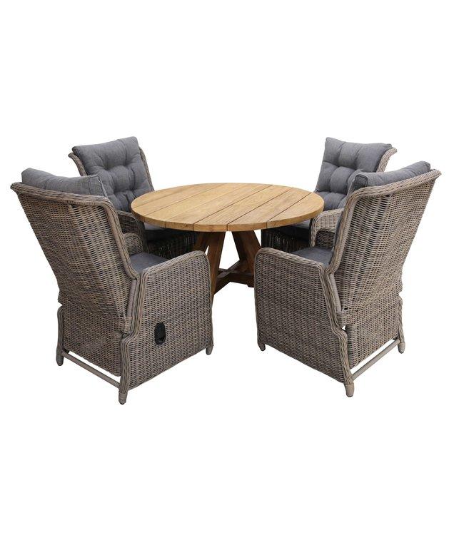 4 Seizoenen Tuinmeubelen 5-delige ronde tuinset | 4 Dublin verstelbare stoelen (SW) | ø120cm Ayra tuintafel (Teak)