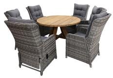 7-delige ronde tuinset | 6 Dublin verstelbare stoelen | ø150cm Ayra tuintafel