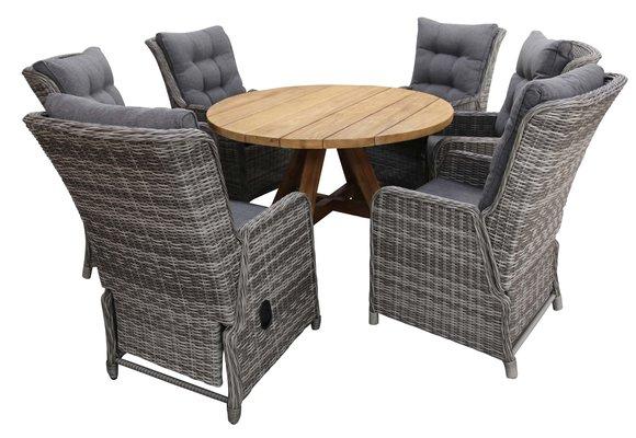 7-delige ronde tuinset | 6 Dublin verstelbare stoelen (AG) | ø150cm Ayra tuintafel (Teak)