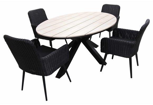 5-delige tuinset | 4 Pisa tuinstoelen (Black) | 180cm ovale Cyprus tuintafel (Wood)
