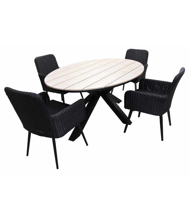 4 Seizoenen Tuinmeubelen 5-delige tuinset | 4 Pisa tuinstoelen (Black) | 180cm ovale Cyprus tuintafel (Wood)