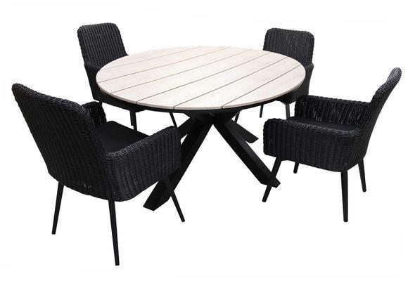 5-delige ronde tuinset | 4 Pisa tuinstoelen (Black) | ⌀120cm Cyprus tuintafel (Wood)