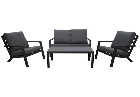 Stoel-bank Loungeset Bezano | met 2-persoonsbank | Matt Black/Grey |  Aluminium