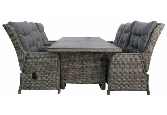 7-delige tuinset | 6 Dublin verstelbare stoelen (AG) | 230cm tuintafel