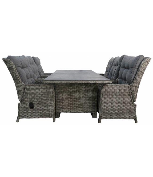 4 Seizoenen Tuinmeubelen  7-delige tuinset | 6 Dublin verstelbare stoelen (AG) | 230cm tuintafel