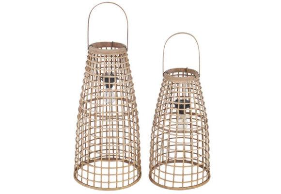 Lantaarn Anzu | Naturel met LED | Lesli Living | Set van 2