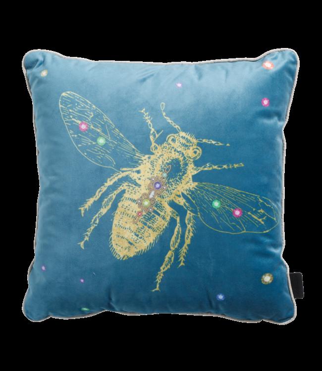 Madison Madison Sierkussen   Velvet Insect Blue   45x45cm