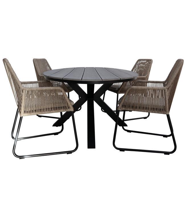 4 Seizoenen Tuinmeubelen 5-delige tuinset | 4 Mona tuinstoelen (Sand) | 180cm ovale Cyprus tuintafel (Grey)