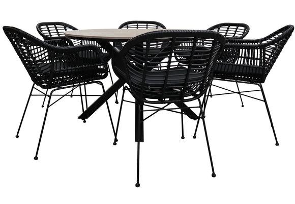7-delige ronde tuinset | 6 Oslo dining tuinstoelen (Black) | ⌀ 150cm Cyprus tuintafel (Wood)