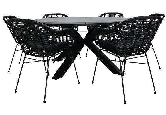 7-delige ronde tuinset | 6 Oslo dining tuinstoelen (Black) | ⌀ 150cm Cyprus tuintafel (Grey)