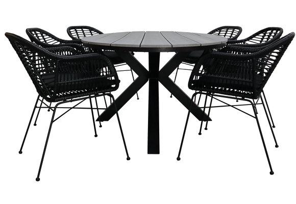 7-delige tuinset | 6 Oslo dining tuinstoelen (Black) | 220cm ovale Cyprus tuintafel (Grey)