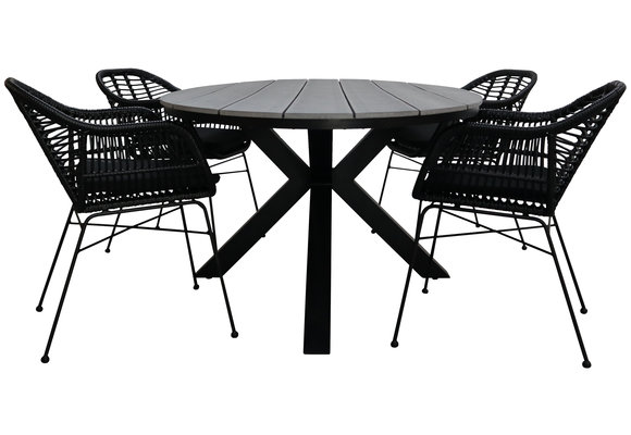 5-delige tuinset | 4 Oslo dining tuinstoelen (Black) | 180cm ovale Cyprus tuintafel (Grey)