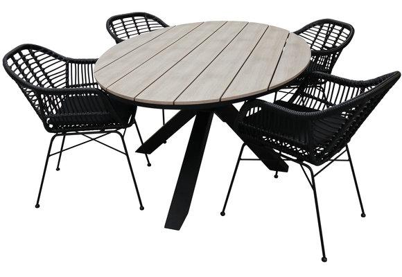 5-delige tuinset | 4 Oslo dining tuinstoelen (Black) | 180cm ovale Cyprus tuintafel (Wood)