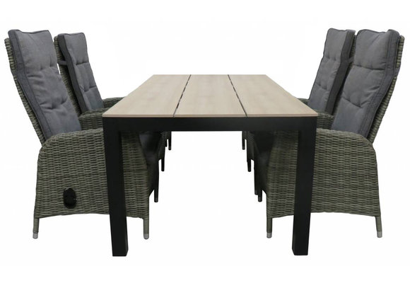 5-delige tuinset | 4 Kos verstelbare stoelen (AG) | 160 of 180cm Cyprus tuintafel (Wood)