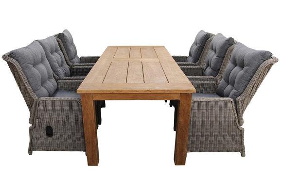 7-delige tuinset | 6 Dublin verstelbare stoelen (SW) | 240cm Ayra tuintafel (Teakhout)