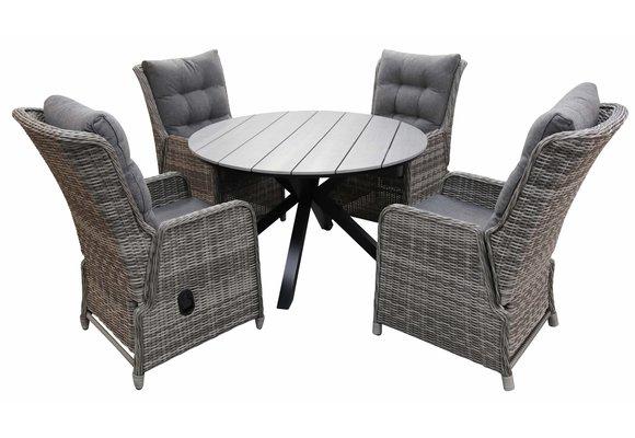 5-delige ronde tuinset | 4 Dublin verstelbare stoelen (AG) | ⌀120cm Cyprus tuintafel (Grey)